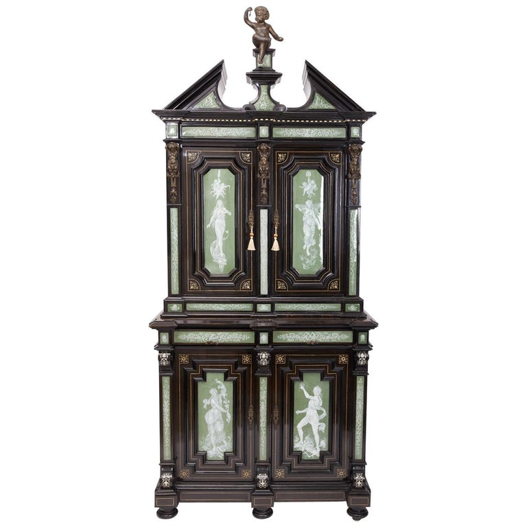 Renaissance Revival Ebonized Cabinet with Exquisite Enameled Copper For Sale