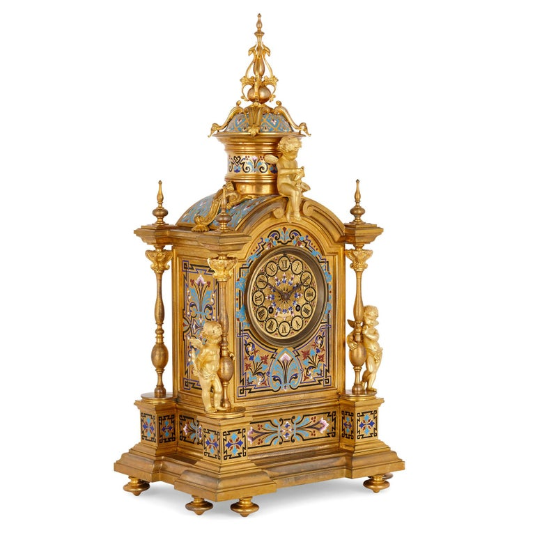 Renaissance Revival enamel and gilt bronze mantel clock French, late 19th century Size: Height 53cm, width 29cm, depth 22cm  The mantel clock is crafted in the charming Renaissance Revival style that flourished in the latter 19th century. The
