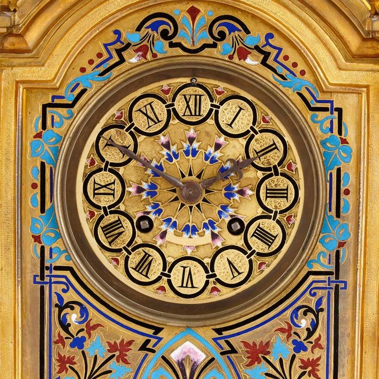 French Renaissance Revival Enamel and Gilt Bronze Mantel Clock For Sale