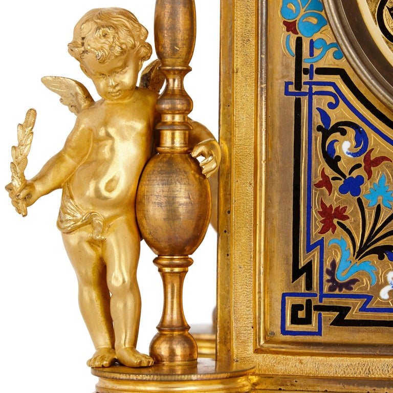 Renaissance Revival Enamel and Gilt Bronze Mantel Clock In Good Condition For Sale In London, GB