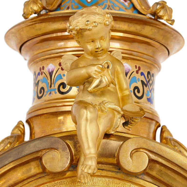 19th Century Renaissance Revival Enamel and Gilt Bronze Mantel Clock For Sale
