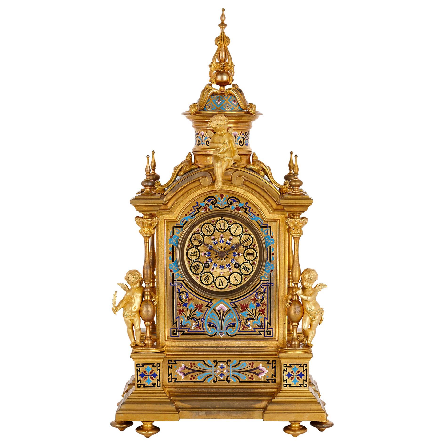 Renaissance Revival Enamel and Gilt Bronze Mantel Clock