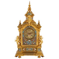 Renaissance Revival Enamel and Gilt Bronze Mantel Clock