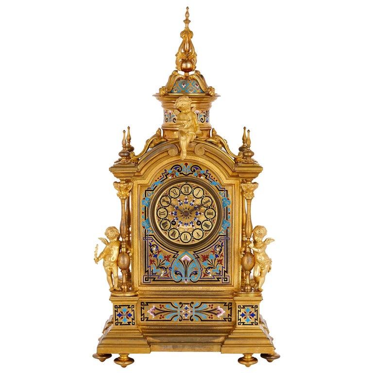Renaissance Revival Enamel and Gilt Bronze Mantel Clock For Sale
