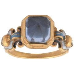 Renaissance Revival Enamel and Point Cut Sapphire Ring