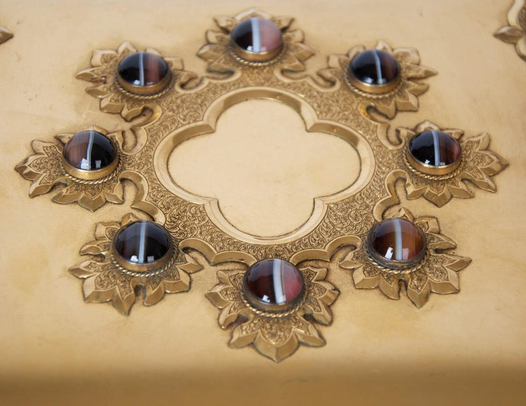 Renaissance Revival Gilt-Brass and Agate Dressing Table Box. French, c 1870 For Sale 2
