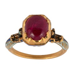 Renaissance Revival Gold, Enamel and Ruby Ring, Mid-Late 19th Century