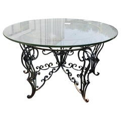 Renaissance Revival Indoor Outdoor Wrought Iron Center Table with Glass Top