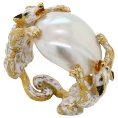 Renaissance Revival Natural Pearl Two Dogs Enamel Ring