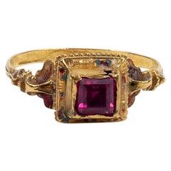 Renaissance Revival Pre-Raphaelite Gold, Garnet and Enamel Ring