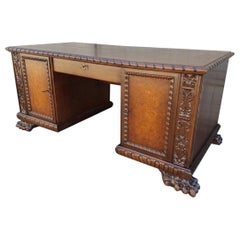 Renaissance Revival Style Desk with Walnut Burl 20th Century Interwar Period