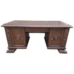 Renaissance Revival Style Oak Desk with Walnut Burl, Early 20th Century