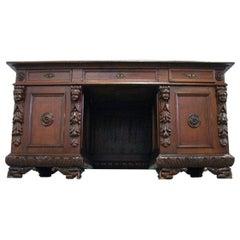 Renaissance Revival Style Solid Oak Desk, Early 19th-20th Century