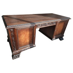 Renaissance Revival Style Solid Oak Desk with Walnut Burl, Early 20th Century