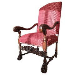Renaissance Revival Style Solid Wood Armchair, Throne, circa 1920