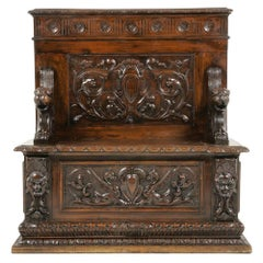 Renaissance Revival Walnut Bench