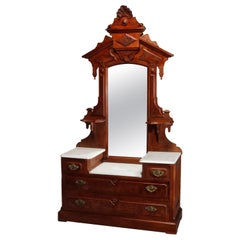 Renaissance Revival Walnut Burl & Ma Drop Center Mirrored Dresser, circa 1880