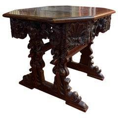 Renaissance Richly Carved Octagonal Inlaid Table, Italy, 17th Century