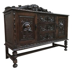 Renaissance Spanish Buffet with Two Doors, Three Drawers and Crest