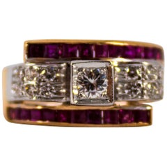Renaissance Style 0.50 Carat White Diamond 1.10 Carat Ruby Yellow Gold Ring