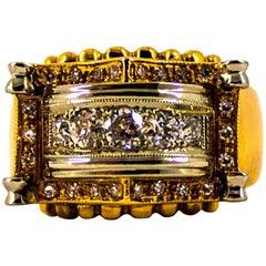Renaissance Style 0.55 Carat White Diamond Yellow Gold Cocktail Ring