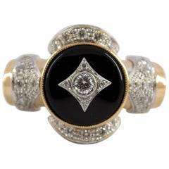 Renaissance Style 0.75 Carat Diamond Onyx Yellow Gold Cocktail Ring