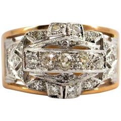 Renaissance Style 0.75 Carat White Diamond Yellow Gold Ring