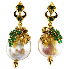 Renaissance Style 1.00 Carat Emerald Pearl Yellow Gold Dangle Stud Earrings