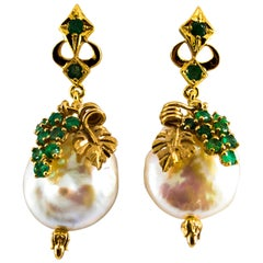 Renaissance Style 1.00 Carat Emerald Pearl Yellow Gold Dangle Stud Earrings