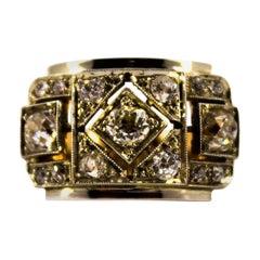 Renaissance Style 1.20 Carat White Diamond Yellow Gold Band Ring