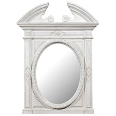 Renaissance Style 1850s Belgian Painted Oval Mirror with Broken Arch Pediment