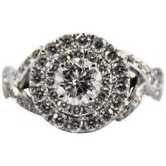 Renaissance Style 2.01 Carat White Diamond White Gold Engagement Ring