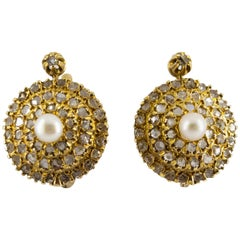 Renaissance Style 2.20 Carat White Diamond Pearl Yellow Gold Lever-Back Earrings