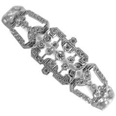 Renaissance Style 2.40 Carat White Diamond White Gold Bracelet