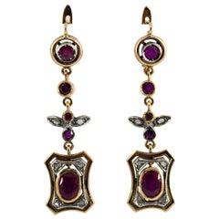 Renaissance Style 2.60 Carat Ruby White Diamond Yellow Gold Lever-Back Earrings