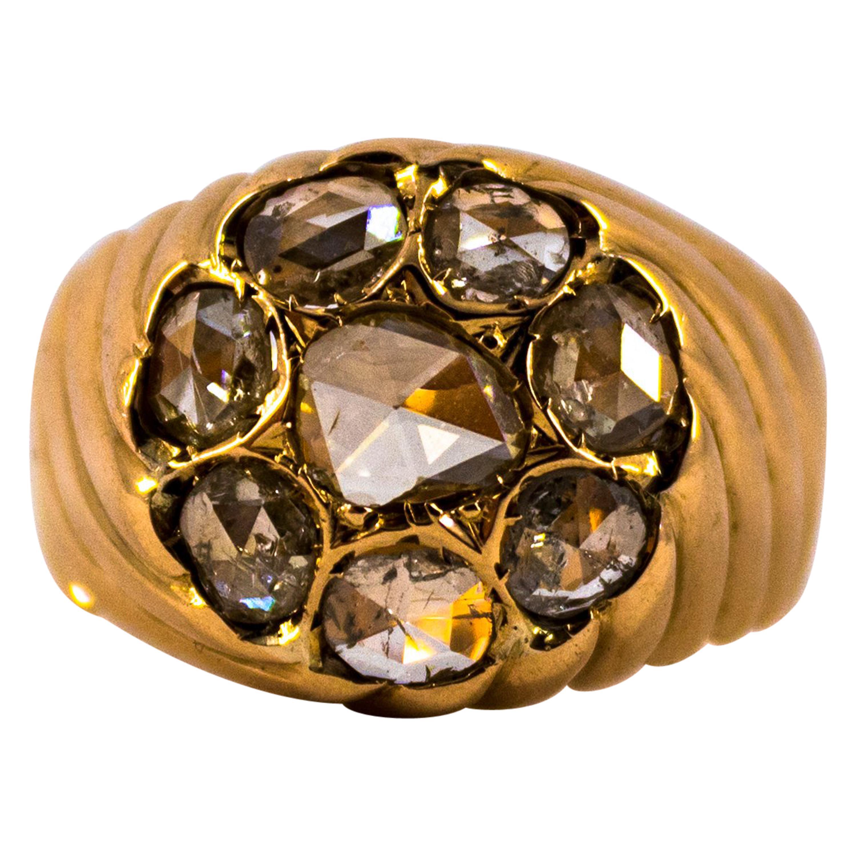 Renaissance Style 2.80 Carat White Rose Cut Diamond Yellow Gold Cocktail Ring