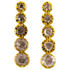 Renaissance Style 2.90 Carat White Diamond Yellow Gold Stud Dangle Earrings