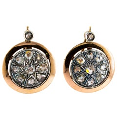 Renaissance Style 3.50 Carat White Diamond Yellow Gold Lever Back Earrings