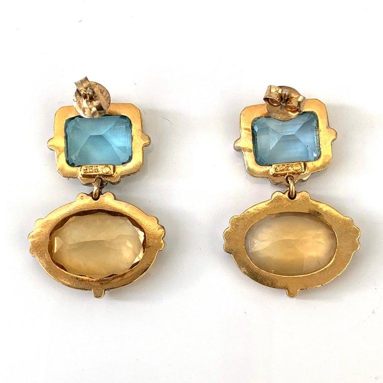 byzantine style blue topaz earrings Helen daffodil antique style earrings museum replica roman style citrine earrings