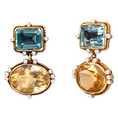 Renaissance Style Blue Topaz Citrine and Pearl Gilded Sterling Silver Earrings