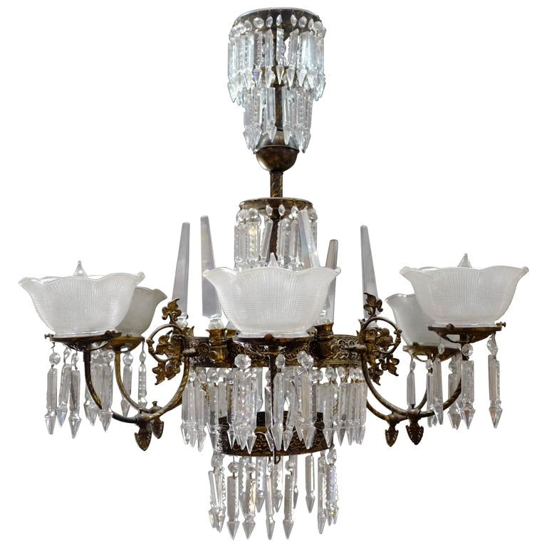 Renaissance Style Brass And Crystal Gas, Gas Light Style Chandelier