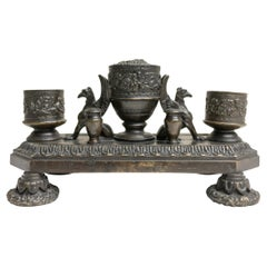 Renaissance Style Bronze Inkwell Decorated with Gryphons