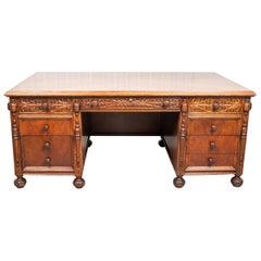 Renaissance Style Carved Oak Executive Desk