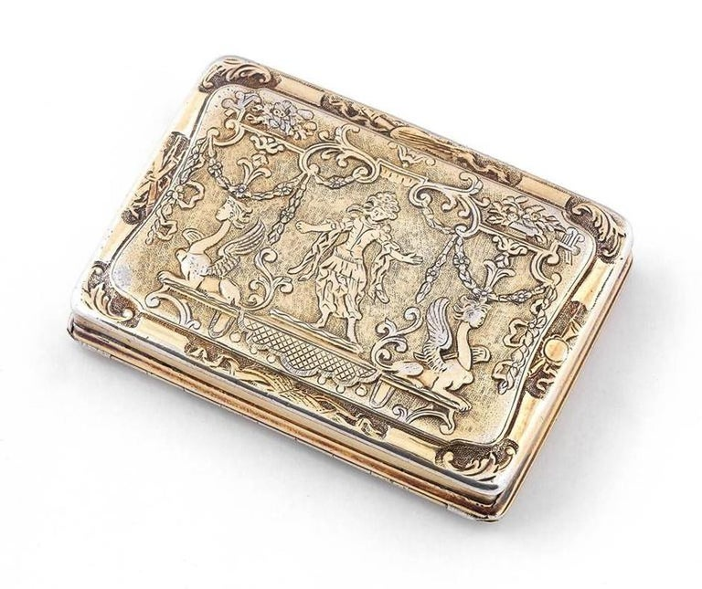 Bernardo Antichità Ponte Vecchio Florence Germany, circa 1740 Of rectangular shape, the hinged cover and the base with finely-chased Renaissance taste decorations and scenes of dancers with putti, trophies and fantastic animals. German and