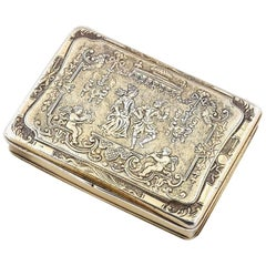 Renaissance Style circa 1790 German Sterling Silver Gilt Snuff Box