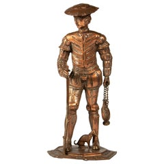 Renaissance Style Copper Figure of a Pilgrim with a Small Dog, circa 1860