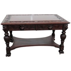 Carved Figural RJ Horner Mahogany Writing Desk Table