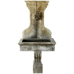 Renaissance Style Fountain Handcrafted in Pure Limestone, Late 20th Century