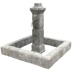 Renaissance Style Fountain Hand-Carved in Pure Limestone with Antique Patina