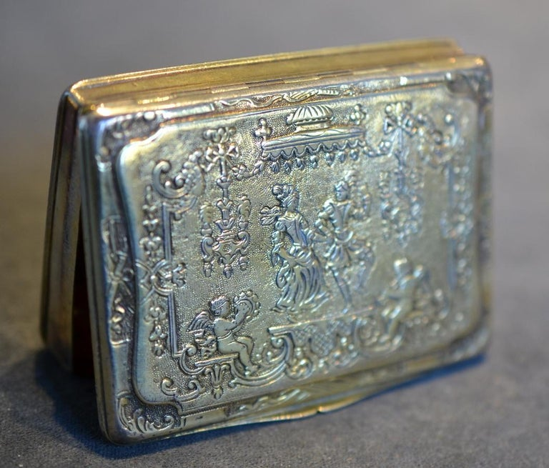 Louis XV Renaissance Style German Silver Gilt Snuff Box For Sale